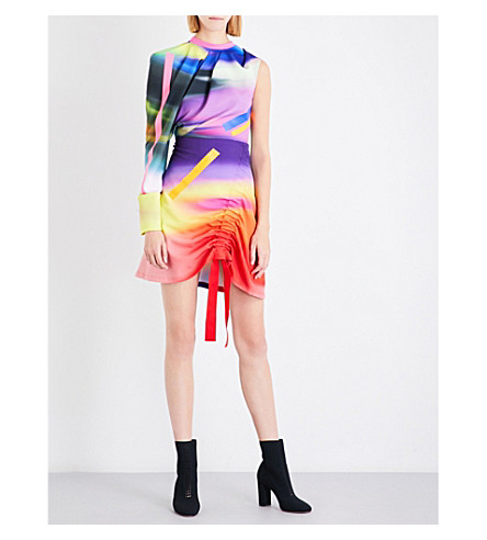 FYODOR GOLAN Gathered abstract-print crepe dress (Spray+print