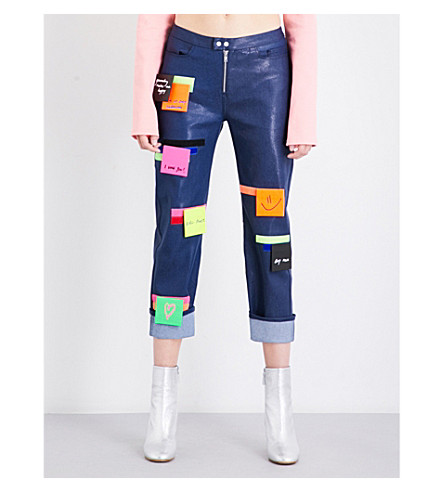 FYODOR GOLAN Post-It cropped stretch-denim jeans (Dark+blue+multi
