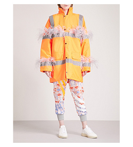 FYODOR GOLAN Marabou feather-trim padded woven parka coat (Orange