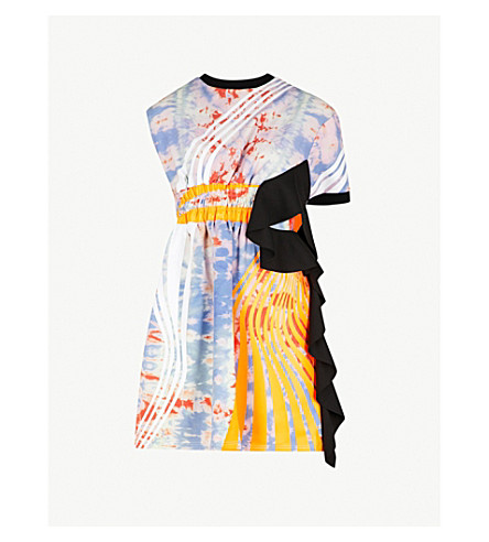 FYODOR GOLAN Ruffled-detail tie-dyed jersey mini dress (Orange+multi