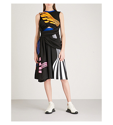 FYODOR GOLAN Striped-print draped jersey dress (Multi