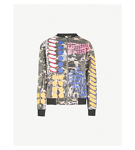 FYODOR GOLAN Geometric-print sequinned bomber jacket (Multi