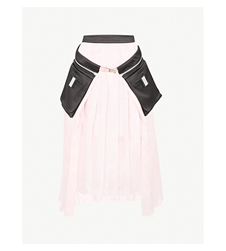 FYODOR GOLAN 口袋细节褶高腰雪纺裙 (粉红色
