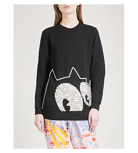 FYODOR GOLAN Diamanté-embellished Felix the Cat cotton-jersey sweatshirt (Black