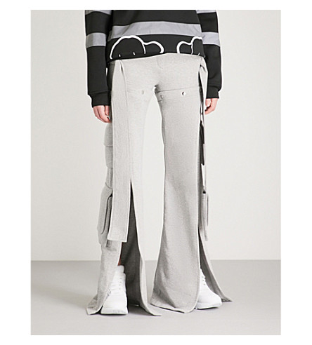 FYODOR GOLAN Slashed cotton-jersey cargo trousers (Grey