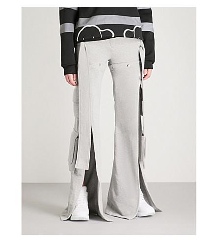 FYODOR GOLAN Slashed cotton-jersey cargo jogging bottoms (Grey