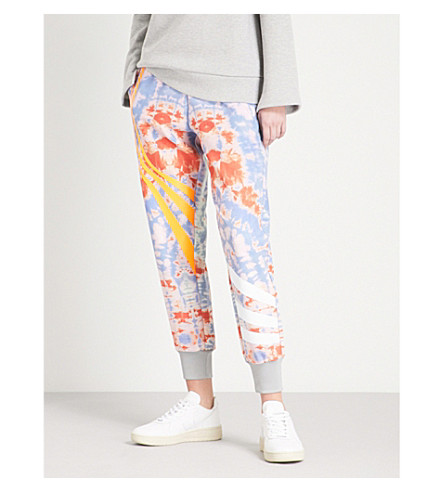 FYODOR GOLAN Tie-dye tapered high-rise cotton jogging bottoms (Orange+multi