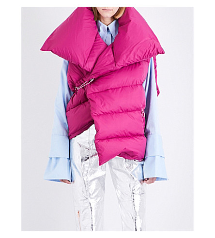 MARQUES ALMEIDA Oversized shell, down and feather-blend puffer gilet (Pink