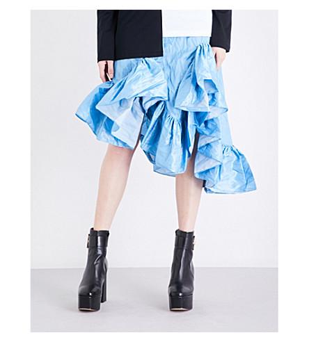 MARQUES ALMEIDA Asymmetric ruffled tafetta midi skirt (Blue