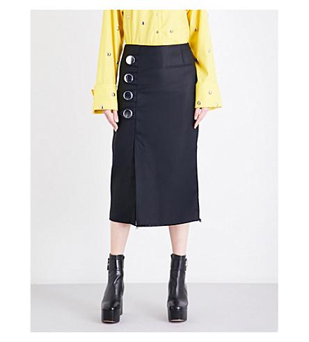 MARQUES ALMEIDA Frayed-hem drill pencil skirt (Black