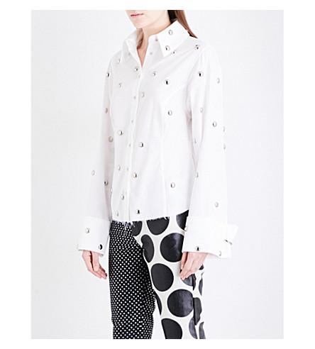 MARQUES ALMEIDA Stud-embellished cotton-poplin shirt (White