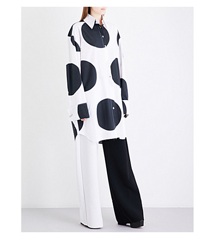 MARQUES ALMEIDA Giant polka dot cotton-poplin shirt dress (White+black