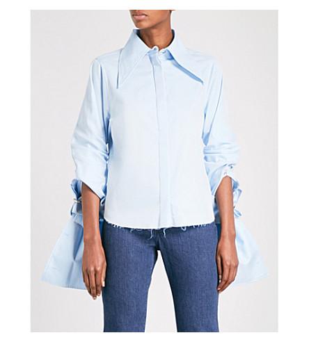 MARQUES ALMEIDA Double-sleeve cotton-poplin shirt (Light+blue