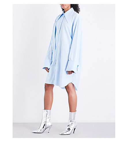 MARQUES ALMEIDA Double-front cotton-twill shirt dress (Light+blue