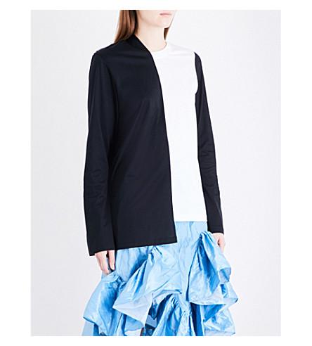 MARQUES ALMEIDA Asymmetric cotton-jersey top (White+black