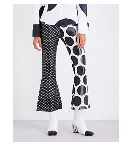 MARQUES ALMEIDA Polka-dot flared jacquard trousers (Blk+wht+grey+ccru