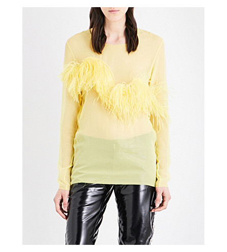 MARQUES ALMEIDA Ostrich feather pure silk-chiffon top (Yellow