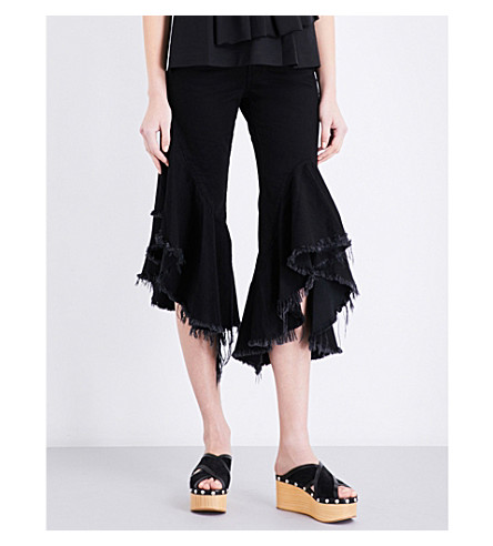 MARQUES ALMEIDA Frayed-hem cropped mid-rise jeans (Black