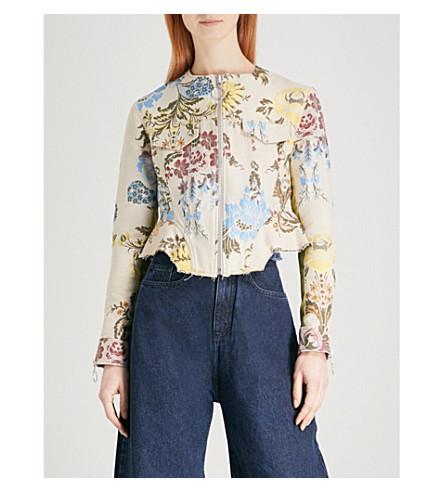 MARQUES ALMEIDA Peplum jacquard jacket (Cream+multi