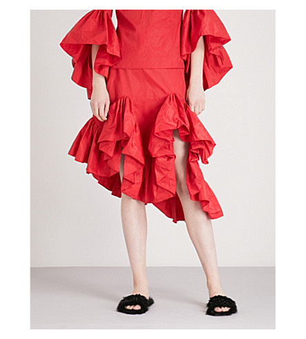 MARQUES ALMEIDA Frilled asymmetric taffeta skirt (Red