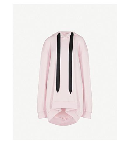 MARQUES'ALMEIDA不对称棉混纺连衣裙帽衫 (淡 + 粉红色