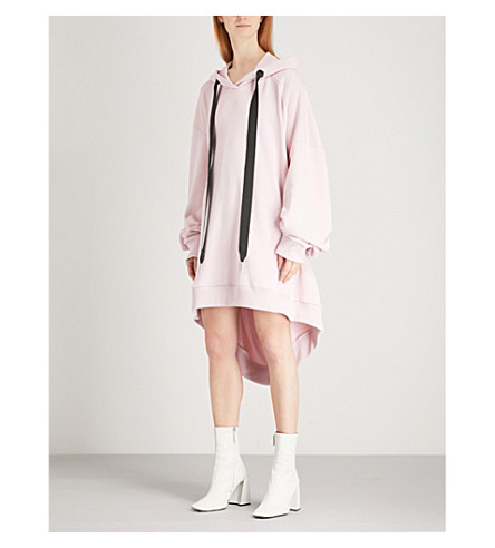 MARQUES ALMEIDA Asymmetric cotton-blend dress hoody (Pale+pink
