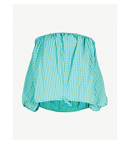 MARQUES'ALMEIDA Gingham off-the-shoulder woven top (Turquoise+gingham