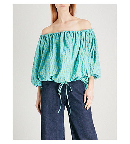 MARQUES ALMEIDA Gingham off-the-shoulder woven top (Turquoise+gingham