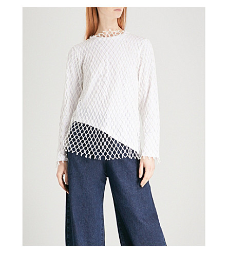 MARQUES'ALMEIDA Layered mesh top (White