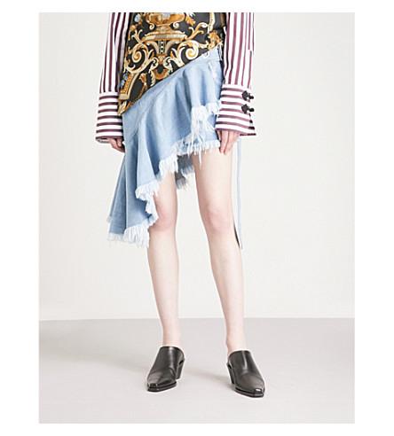 MARQUES ALMEIDA Wrap-panel distressed denim skirt (Babyblue