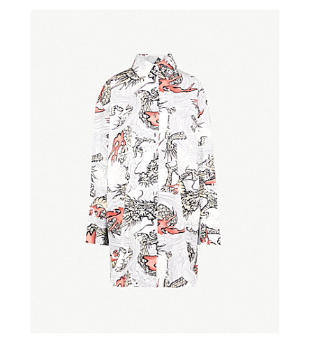 MARQUES'ALMEIDA Sea dragon-print oversized cotton shirt (White
