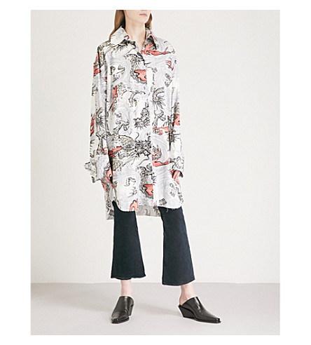 MARQUES'ALMEIDA Sea dragon-print oversized cotton shirt (White
