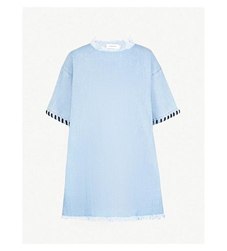 MARQUES'ALMEIDA Laced-sleeve oversized denim top (Babyblue