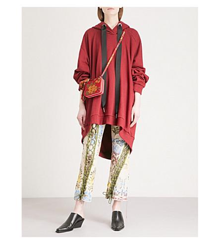 MARQUES'ALMEIDA Asymmetric cotton-jersey dress hoody (Burgundy