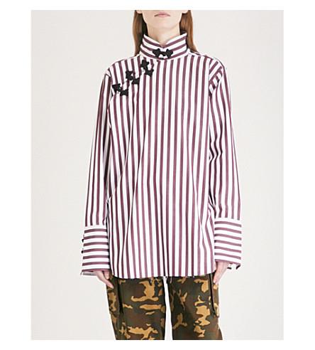 MARQUES ALMEIDA Striped mandarin-collar cotton shirt (Burgundy/whitestripe