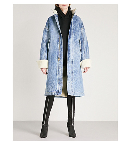 FEAR OF GOD Fifth Collection shearling and selvedge denim coat (Holy+water+wash