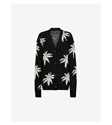 AMIRI Palm cashmere and wool-blend cardigan (Black+/+white