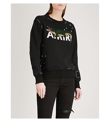 AMIRI Alligator cotton-jersey sweatshirt (Black
