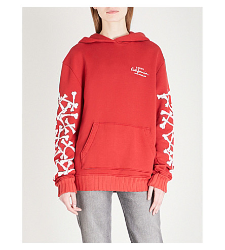 AMIRI Bones oversized cotton-jersey hoody (Red