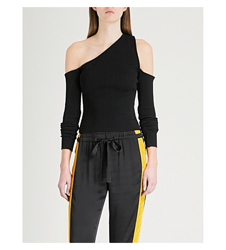 AMIRI One-shoulder cutout ribbed-knit top (Black