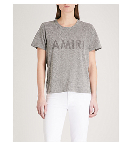 AMIRI Logo-print jersey T-shirt (Grey