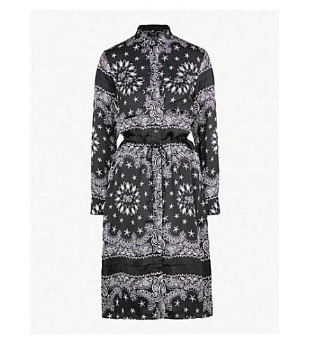 AMIRI Bandana-print silk shirt dress (Black