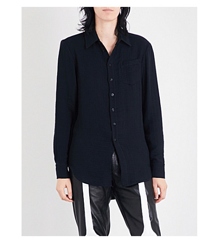 YANG LI Asymmetric cotton-blend shirt (Black