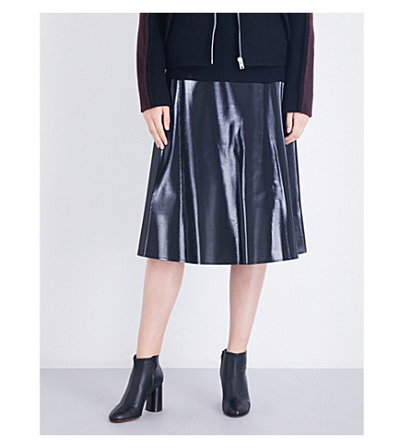 YANG LI Minimal wool-blend midi skirt (Black