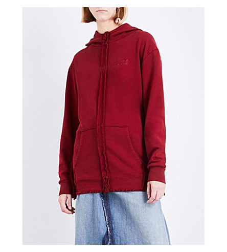 YANG LI Regulations cotton-jersey hoody (Dark+red