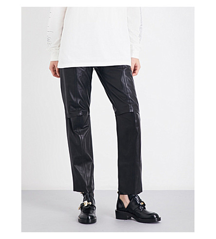 YANG LI Straight leather trousers (Black