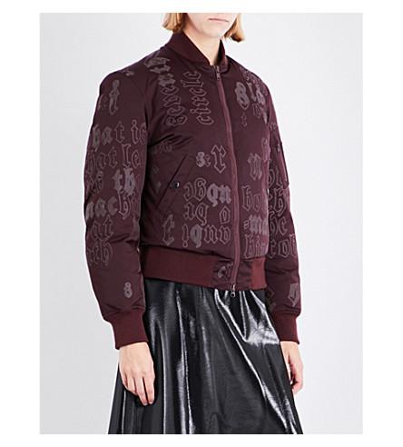 YANG LI Script-print satin bomber jacket (Burgundy