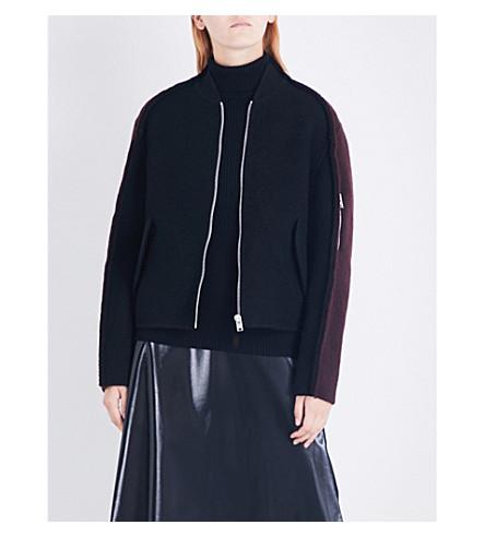 YANG LI Exposed seams wool and mohair-blend bomber jacket (Black+dark+red