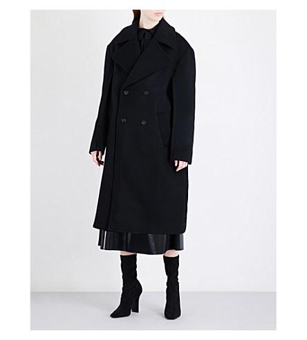 YANG LI Oversized double-breasted brushed-wool coat (Black
