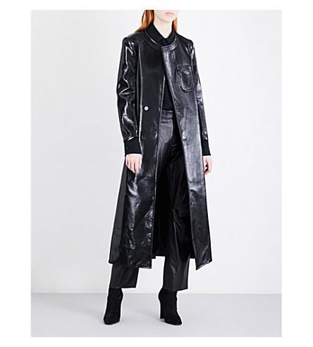 YANG LI Oversized lacquered wool-blend coat (Black